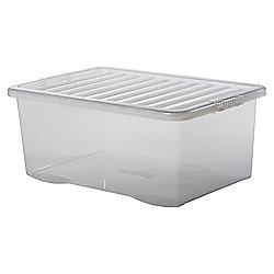Plastic Storage Box with Lid - 45L - Clear