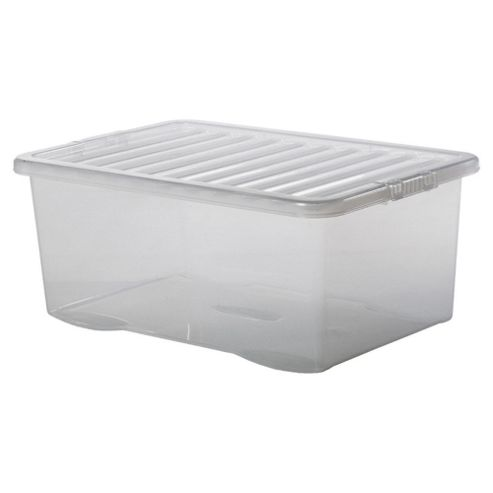 Tesco 45L Plastic Storage Box with Lid, Clear