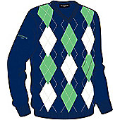 Glenmuir Mens Ledmore Diamond Cotton Sweater - Blue