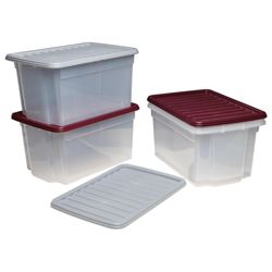 Whatmore 50L clearview box with lid, plum & grey 4 pack