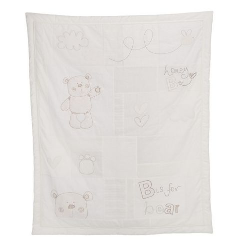 Obaby B is for Bear Quilt & Bumper 2 Piece Set, White