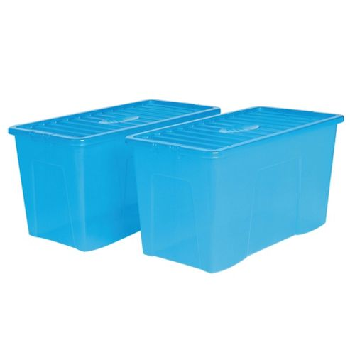 Wham Crystal 110L storage box with lid, 2 pack blue