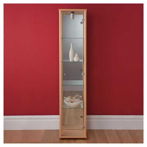 Bradley 1 Door Glass Display Cabinet Beech