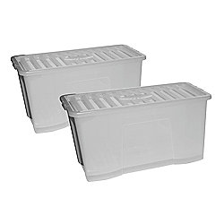 Wham 110 Litre Plastic Storage Box with Lid, 2-Pack