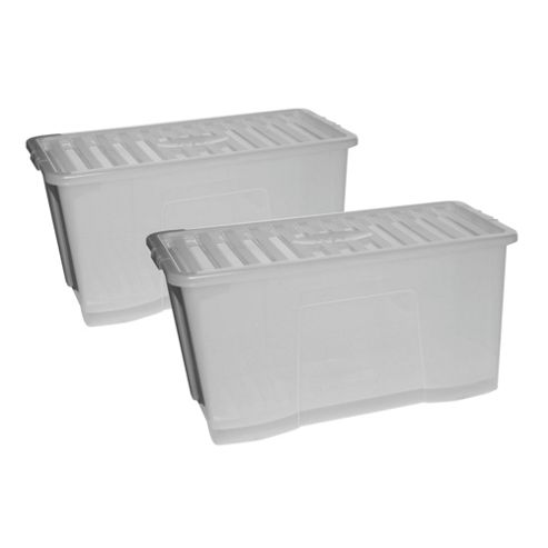 Wham Crystal 110L Storage Box With Lid, 2 Pack Clear