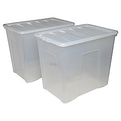 Wham Plastic Storage Box with Lid - 160L - Pack of 2