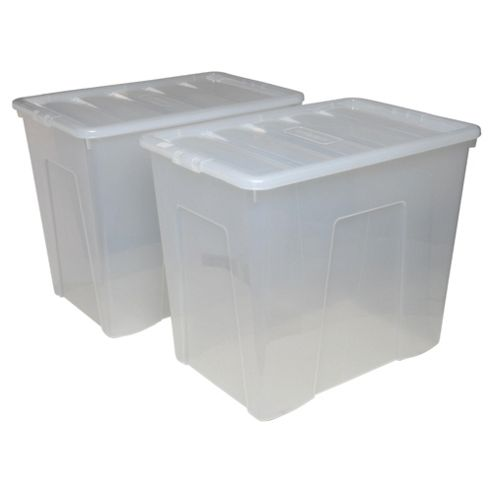 Wham 160L Storage Box With Lid, 2 Pack Clear