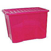 Tesco 80L Plastic Storage Box with Lid, Pink