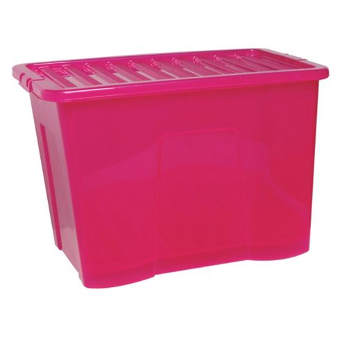 Tesco Crystal 80L Box With Lid, Pink