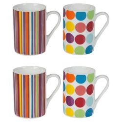 Tesco Bright Spot and Stripe Set of 8 Mugs