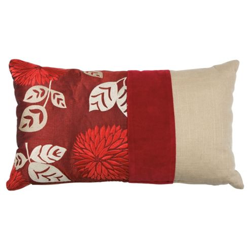buy tesco embroidered oblong floral cushion red from our. Black Bedroom Furniture Sets. Home Design Ideas