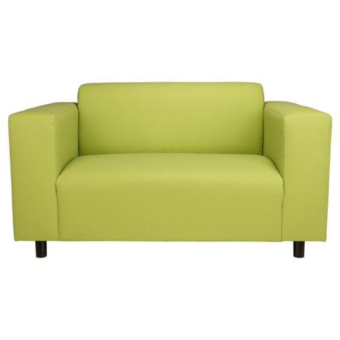 Stanza Leather Effect Small Sofa, Lime Green