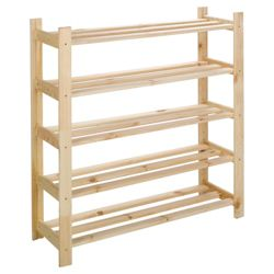 5 shelf shoe rack solid pine