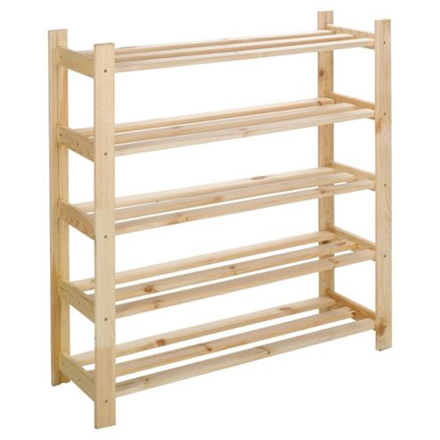 Tesco 5 Shelf Shoe Rack Solid Pine