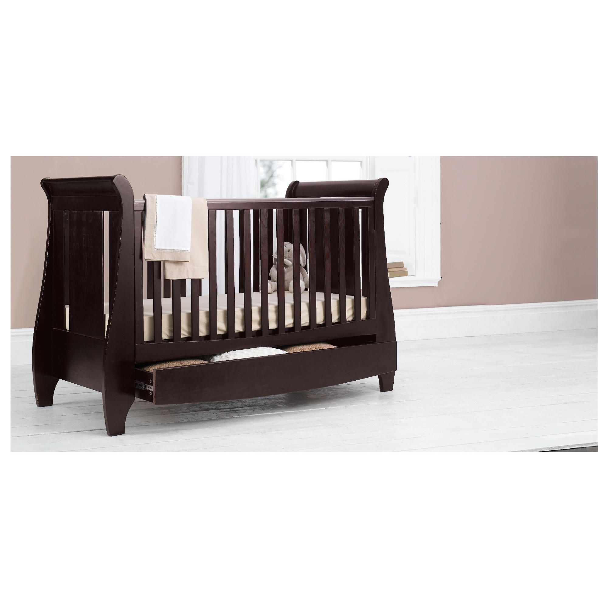 Tutti Bambini Lucas Dropside Sleigh Cot Bed, Espresso at Tesco Direct