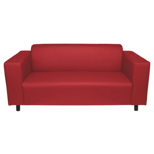 Stanza Leather Effect Medium Sofa, Red
