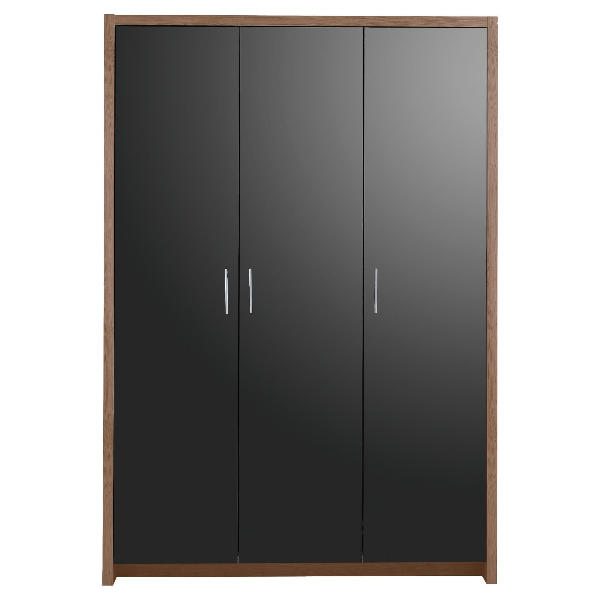 Manhattan Triple Wardrobe, Walnut-Effect & Black Gloss at Tesco Direct