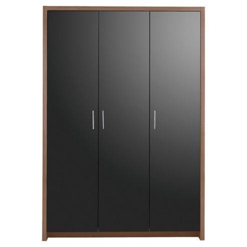 Manhattan 3 Door Wardrobe, Walnut Effect/Black Gloss