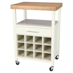 Bamboo Top Kitchen Trolley With Bottle Racking, White