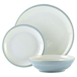 Denby Everyday 12 Piece, 4 Person Dinner Set - Cool Blue