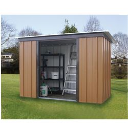Yardmaster Tall Woodgrain Effect Metal Pent Shed
