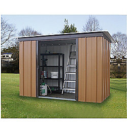 Yardmaster Tall Woodgrain Effect Metal Pent Shed, 6x4ft