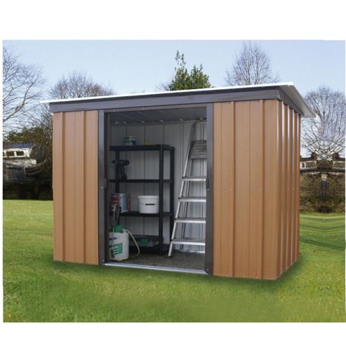 Yardmaster 6'x3'5 Tall Woodgrain Effect Metal Pent Shed