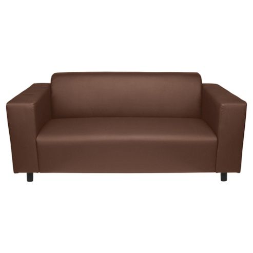 Stanza Leather Effect Medium Sofa, Chocolate