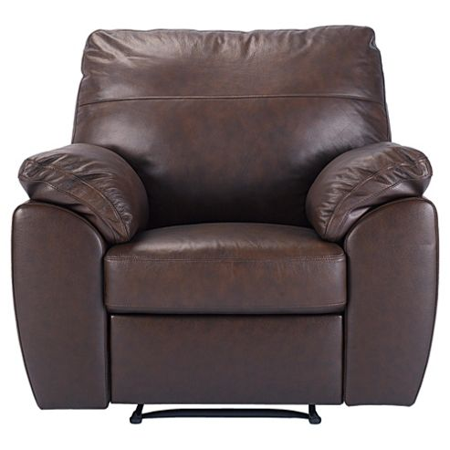 Alberta Leather Recliner Armchair, Chocolate