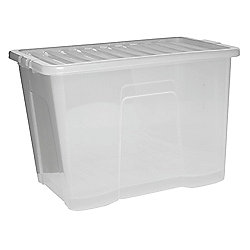 Plastic Storage Box with Lid - 80L - Clear
