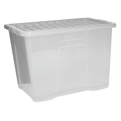 Tesco Crystal 80L Storage Box With Lid, Clear