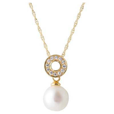14ct Gold Plated Silver Pearl & Cubic Zirconia Pendant, 46cm