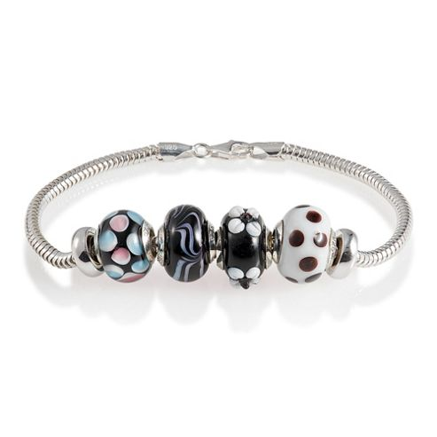 Sterling Silver Black Glass Bead Starter Bracelet