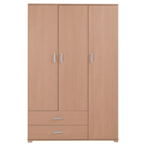 Fresno 3 Door Wardrobe, Beech Effect
