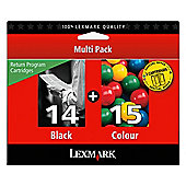 Lexmark 14, 15 Black and Colour Return Programme Ink Cartridges (Twin Pack)