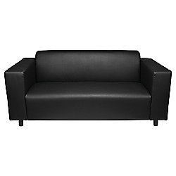 Stanza Leather Effect Medium 3 Seater  Sofa, Black