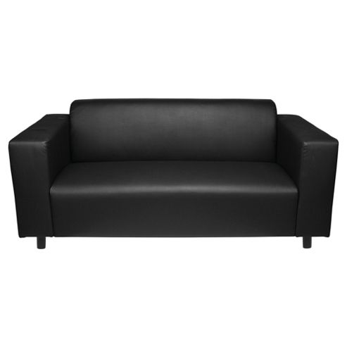Stanza Leather Effect Medium Sofa, Black