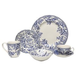 Johnson Bros 18 Piece, 4 Person Devon Cottage Dinner Set - Blue & White