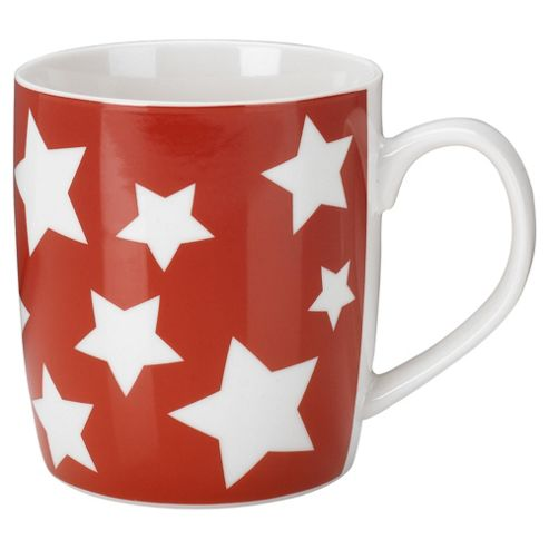 Set of 4 Red Star Mugs