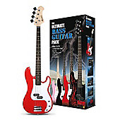 Rockburn Ultimate Electric Bass Guitar Pack - Red
