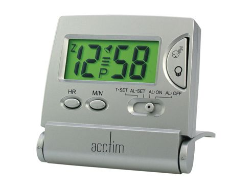 Acctim 13357 Mini Flip LCD Alarm Clock Silver