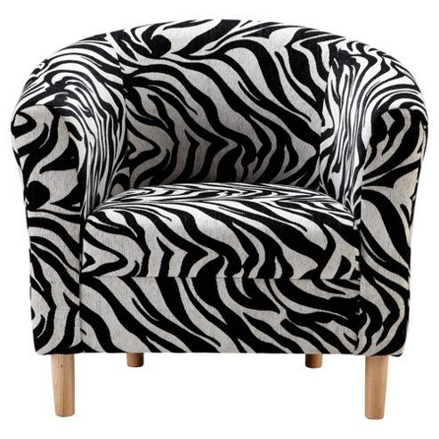 Tub Chair, Zebra Black