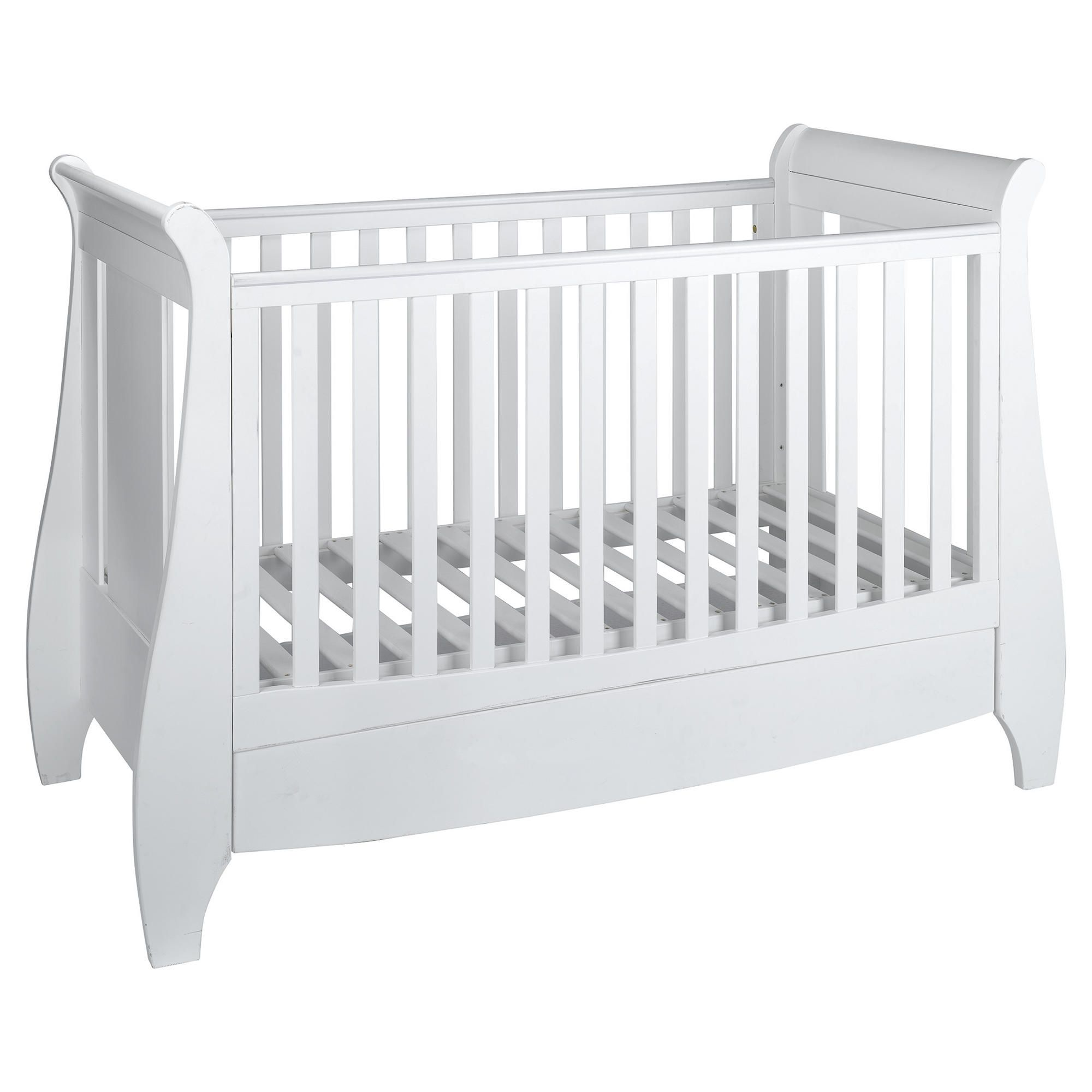 Tutti Bambini Lucas Dropside Sleigh Cot Bed, White at Tesco Direct