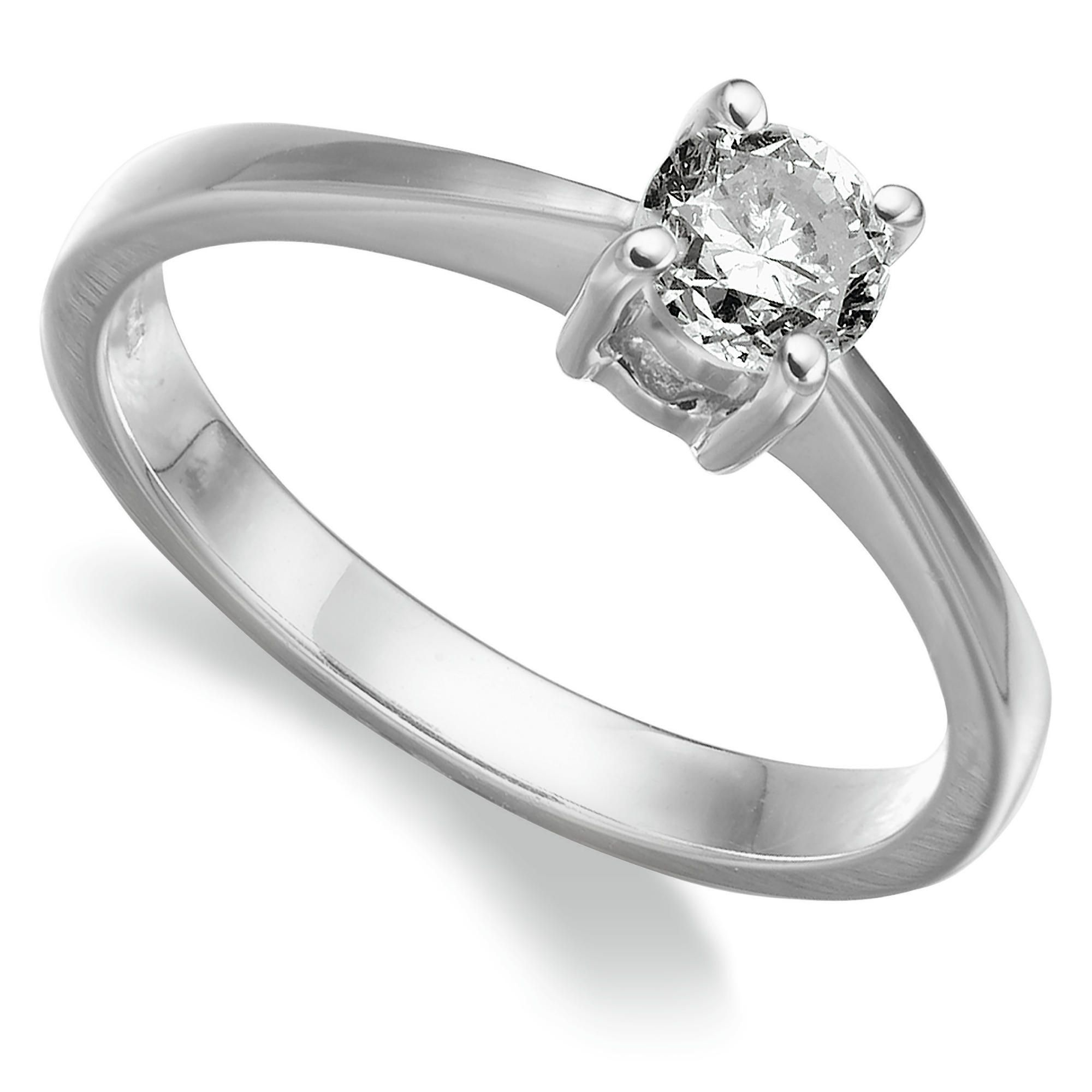 18ct white gold 1/2ct diamond solitaire ring, T at Tesco Direct