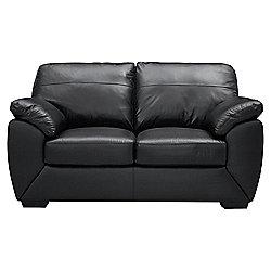 Alberta Leather Small 2 seater  Sofa, Black