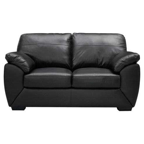 Alberta Small Leather Sofa, Black