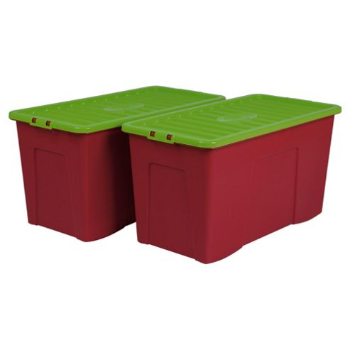 Wham 110l Box With Lid, 2 Pack Raspberry And Lime