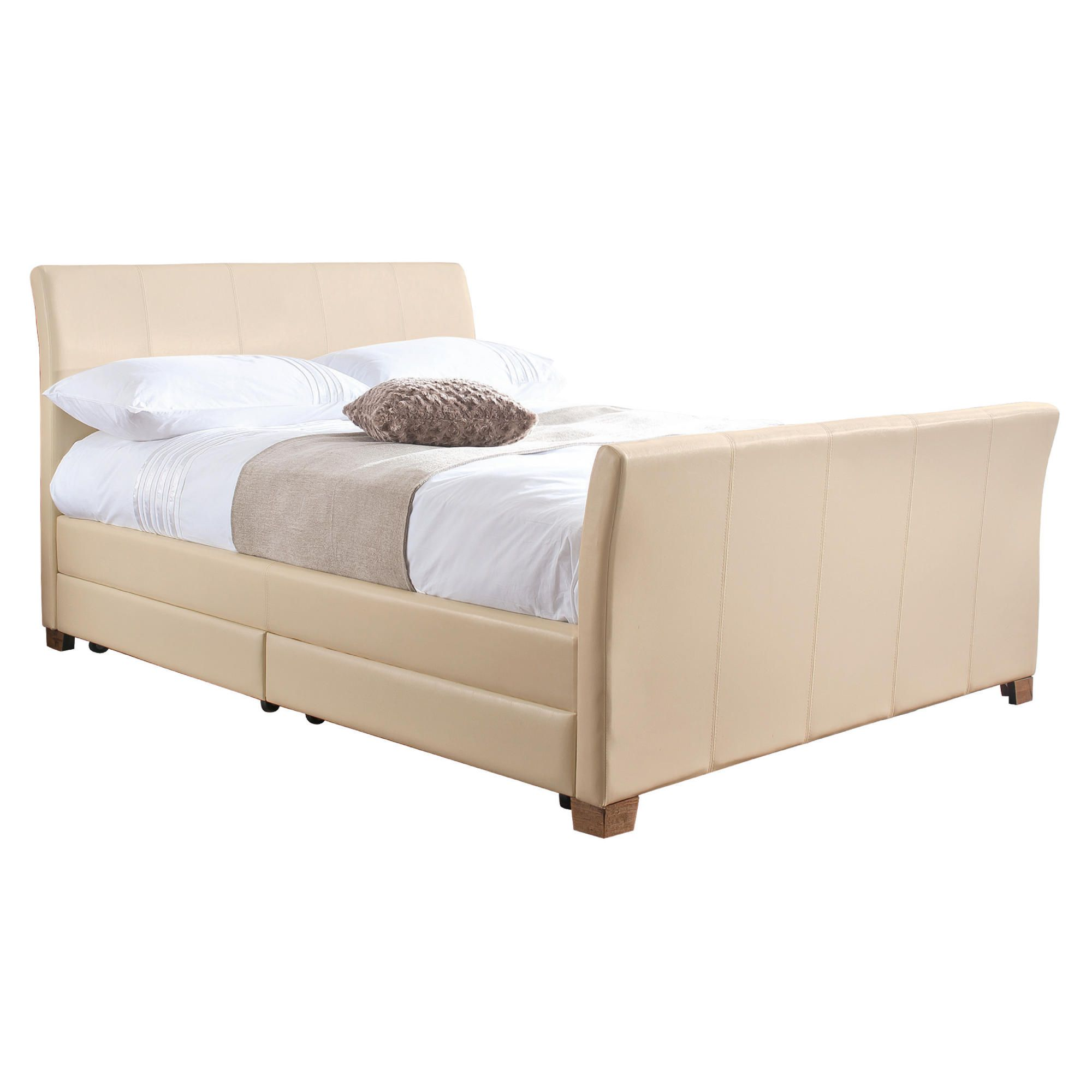 Rayne Double Faux Leather Bed Frame with 4 Drawers, Cream at Tesco Direct