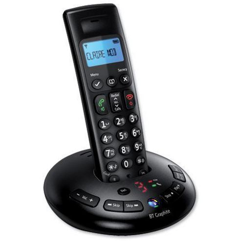 BT Graphite 2500 single cordless Telephone with Answer Machine