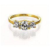Gold Plated Silver Cubic Zirconia 3-Stone Ring, S